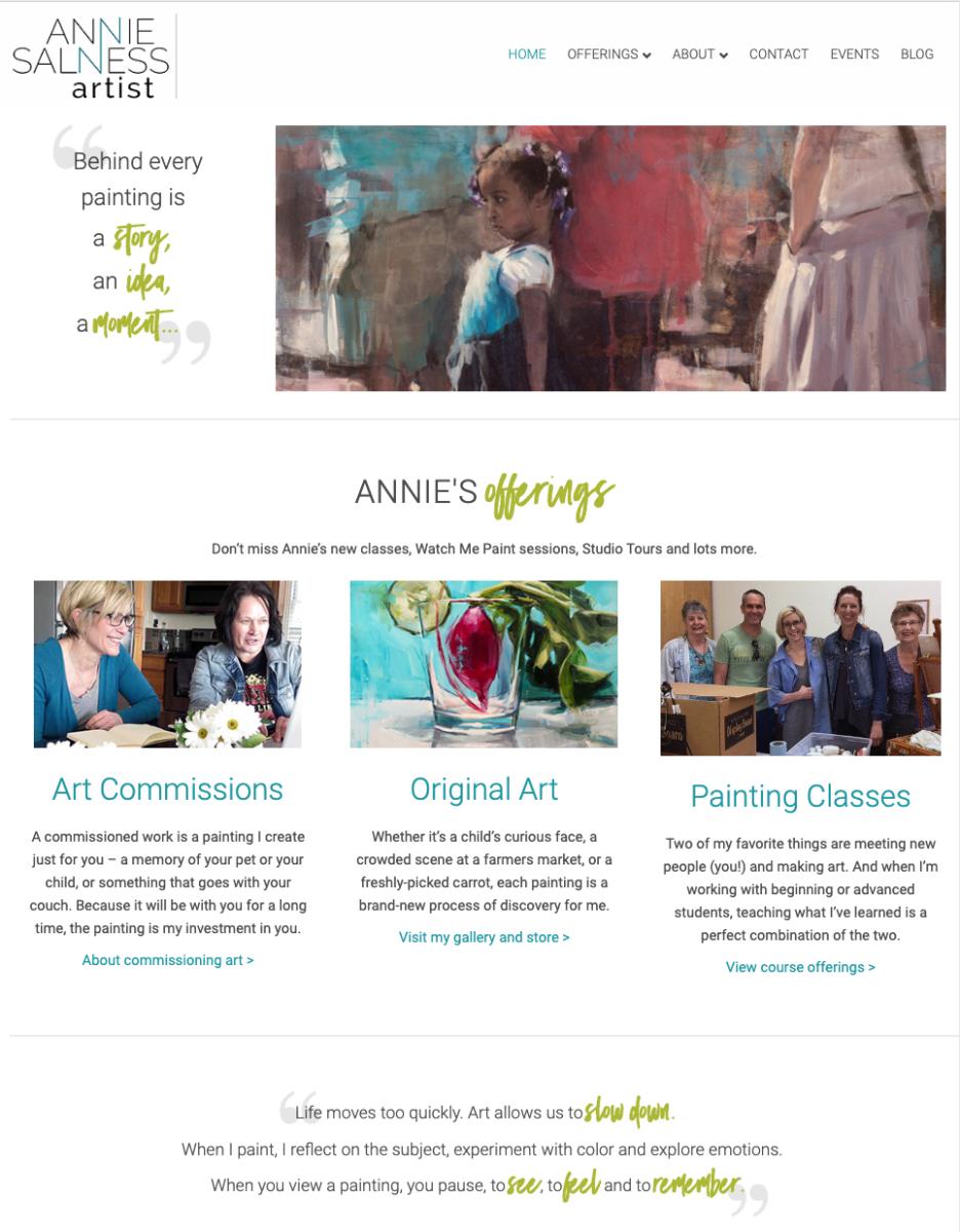 Gotsowell redesign of Annie Salness Artist site