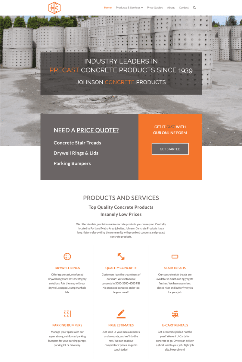 Gotsowell redesign of Johnson Concrete Products Inc site