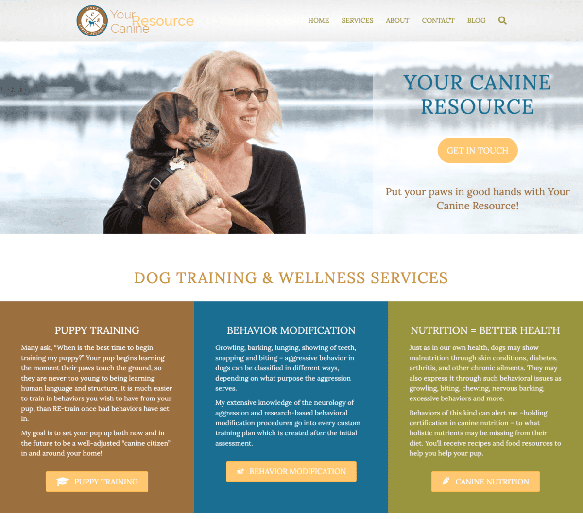 Gotsowell redesign of Your Canine Resource site